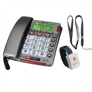 Téléphone fixe TELEPHONE FILAIRE ECRAN ET BRACELET APPEL URGENCE