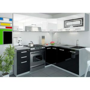 Cuisine equipee blanc laque achat vente cuisine for Cuisine complete equipee