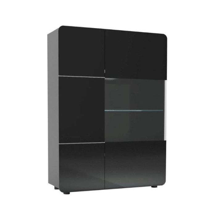 Armoire vitrine de salon 2 portes noir mapp l 110 x l for Porte de salon