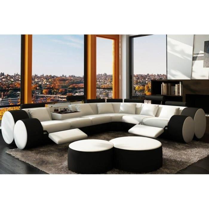 Canap d 39 angle cuir blanc et noir relax achat vente for Canape cuir noir et blanc