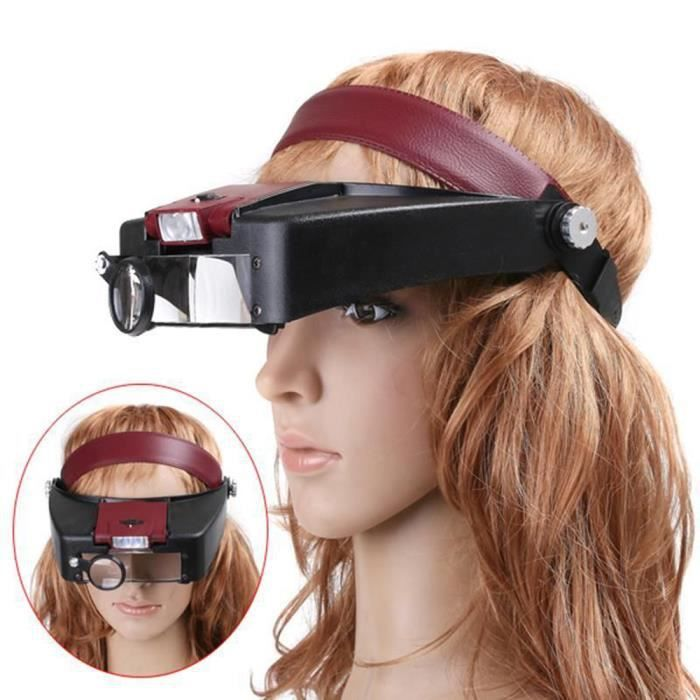 casque loupe r glable lampe 2led loupe casque frontale verre grossissant grossissement pour. Black Bedroom Furniture Sets. Home Design Ideas