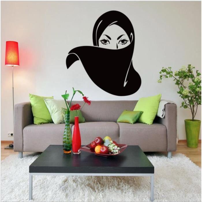 sculpt femme masqu e mur fille autocollants mural. Black Bedroom Furniture Sets. Home Design Ideas