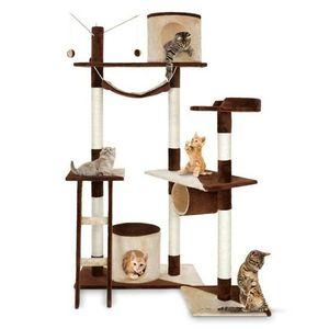 arbre chat de taille moyen en marron beige achat vente arbre chat arbre chat de taille. Black Bedroom Furniture Sets. Home Design Ideas