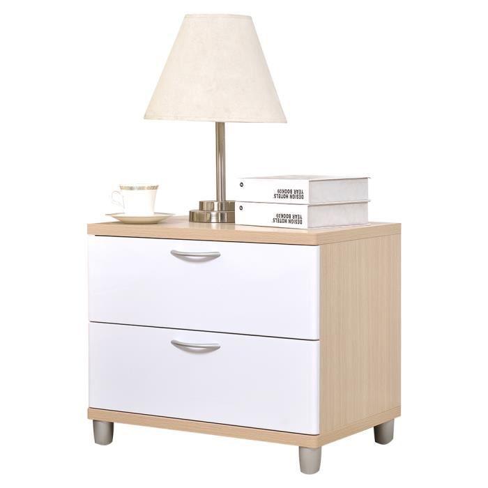 table de chevet avec 2 tiroirs blanc achat vente chevet table de chevet avec 2 tiro cdiscount. Black Bedroom Furniture Sets. Home Design Ideas
