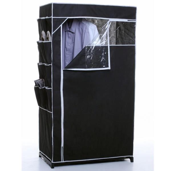 penderie armoire penderie toile avec rangement chaussures blanc achat vente penderie mobile. Black Bedroom Furniture Sets. Home Design Ideas