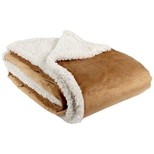 goldmond home 4001626016952 plaid et couverture imitation fourrure d 39 agneau et vison caramel. Black Bedroom Furniture Sets. Home Design Ideas