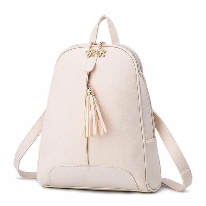 sac dos frange pu cuir ecole voyage fille femme blanc achat vente sac dos frange pu cuir. Black Bedroom Furniture Sets. Home Design Ideas