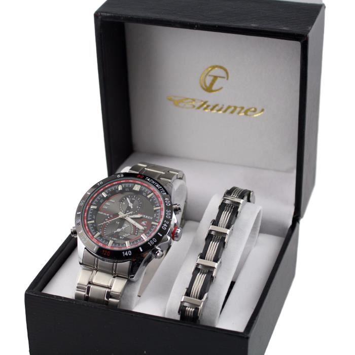 pack montre homme et gourmette en acier coffret cadeau men achat vente pack montre pack. Black Bedroom Furniture Sets. Home Design Ideas