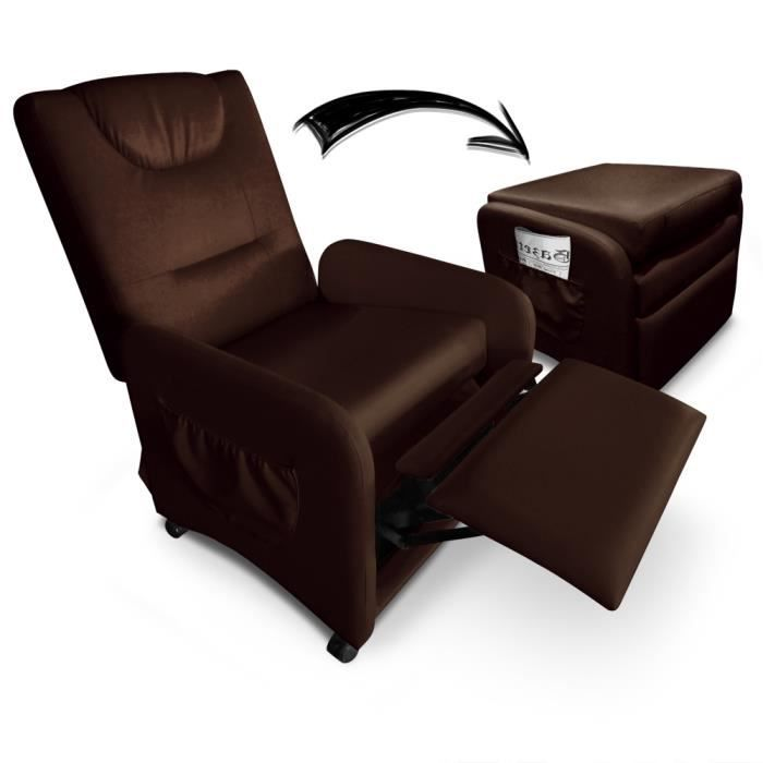 fauteuil relax pliable brio marron achat vente fauteuil cdiscount. Black Bedroom Furniture Sets. Home Design Ideas