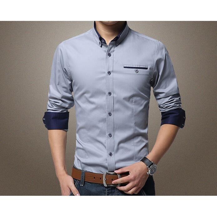 collection de l 39 automne hiver chemise homme d c gris achat vente chemise chemisette. Black Bedroom Furniture Sets. Home Design Ideas