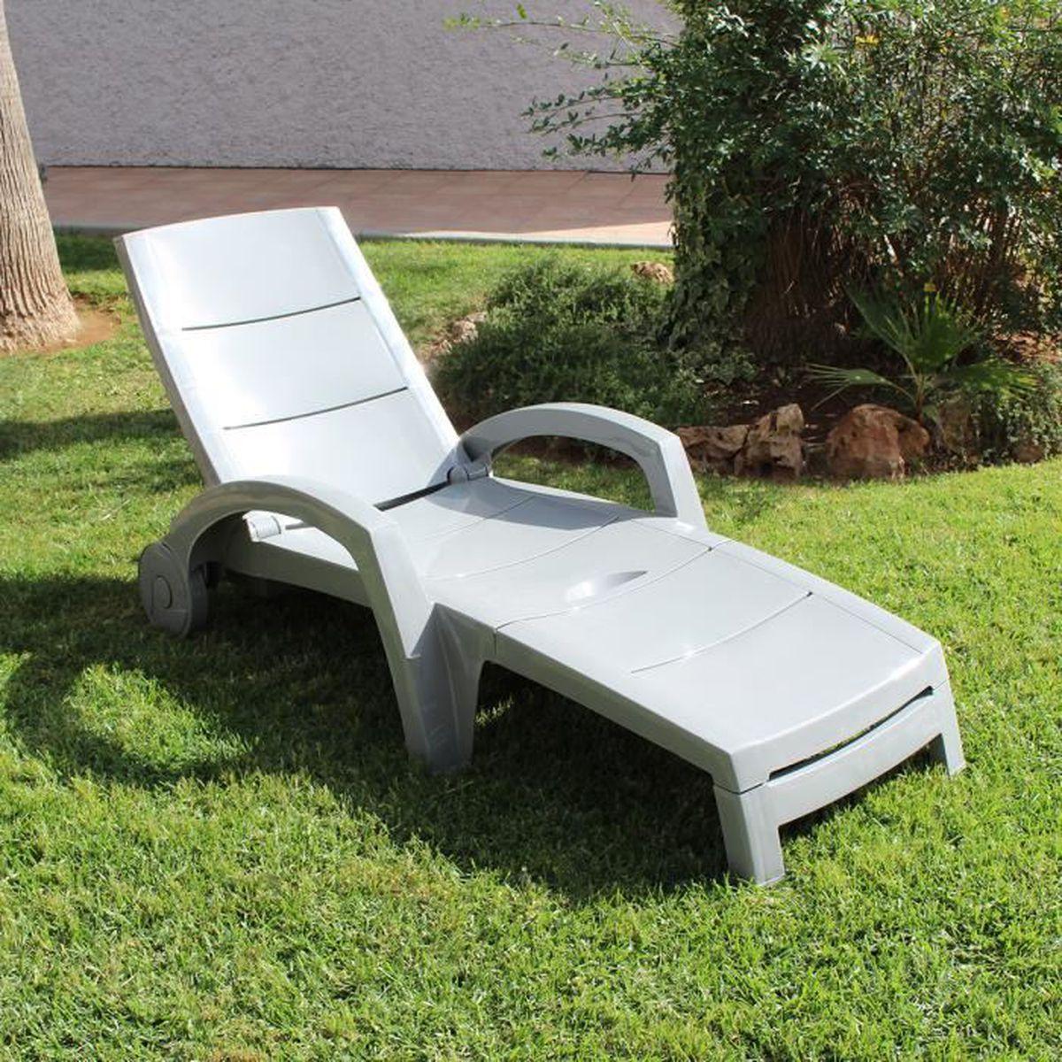 Bain de soleil oc an gris clair anthracite achat vente for Chaise longue bain de soleil