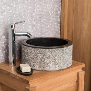 LAVABO - VASQUE Vasque salle de bain en marbre Elbe noir 35cm
