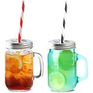 Mug pichet en verre anse mason jar pot de confiture bocal couvercle kilne - Pots en verre pour confiture ...