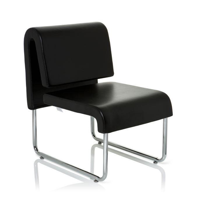 Fauteuil de salon r ception antigua en pu noir achat for Chaise de salon noir