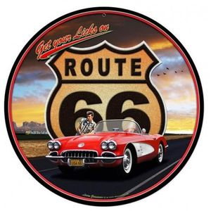 Plaque metal deco ronde achat vente plaque metal deco for Decoration murale route 66