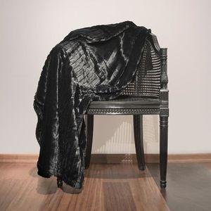COUVERTURE - PLAID Plaid fausse fourrure Loup Noir 150 x 180 cm