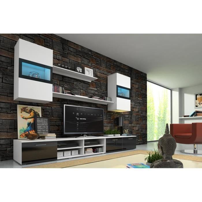 Esemble meuble tv design noir et blanc avec led achat vente meuble tv ese - Meuble tv avec lumiere ...
