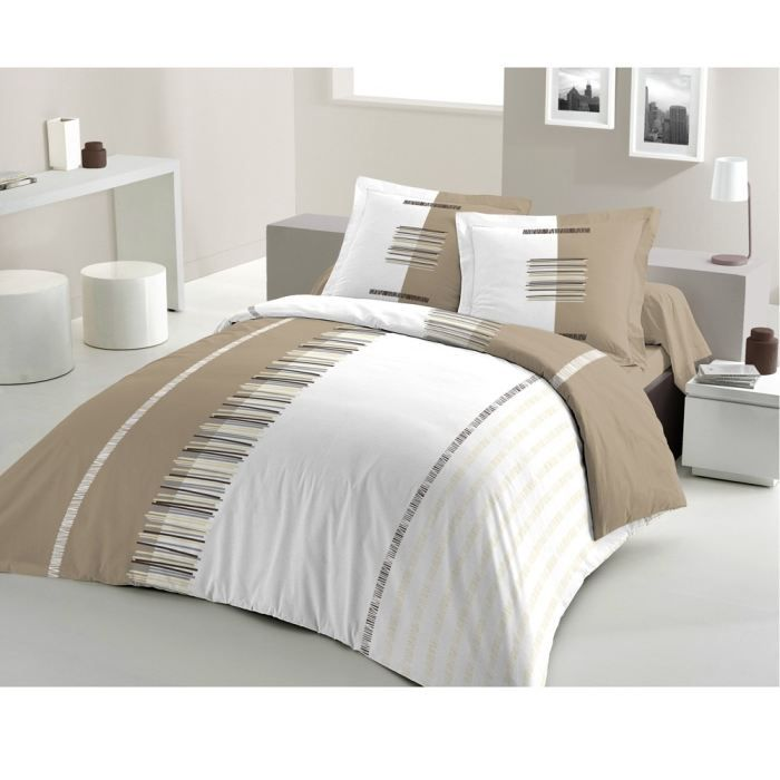 casatxu housse 200x200 2 taies pertinence taupe achat. Black Bedroom Furniture Sets. Home Design Ideas