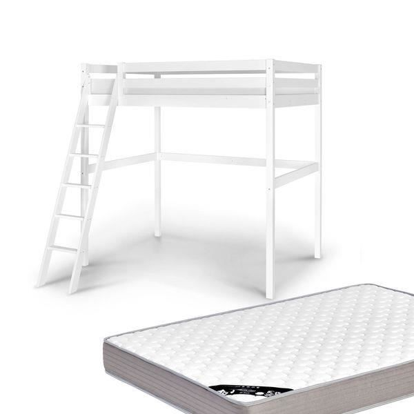 Lit mezzanine 2 personnes 140x200 avec matelas blanc achat vente lit me - Lit 2 personnes blanc ...