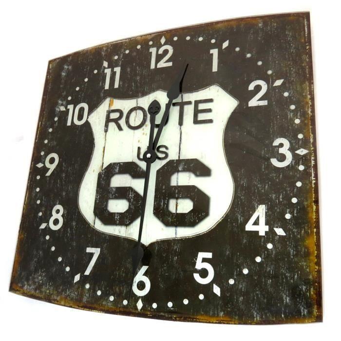 Horloge murale route 66 noir vintage achat vente for Deco murale route 66