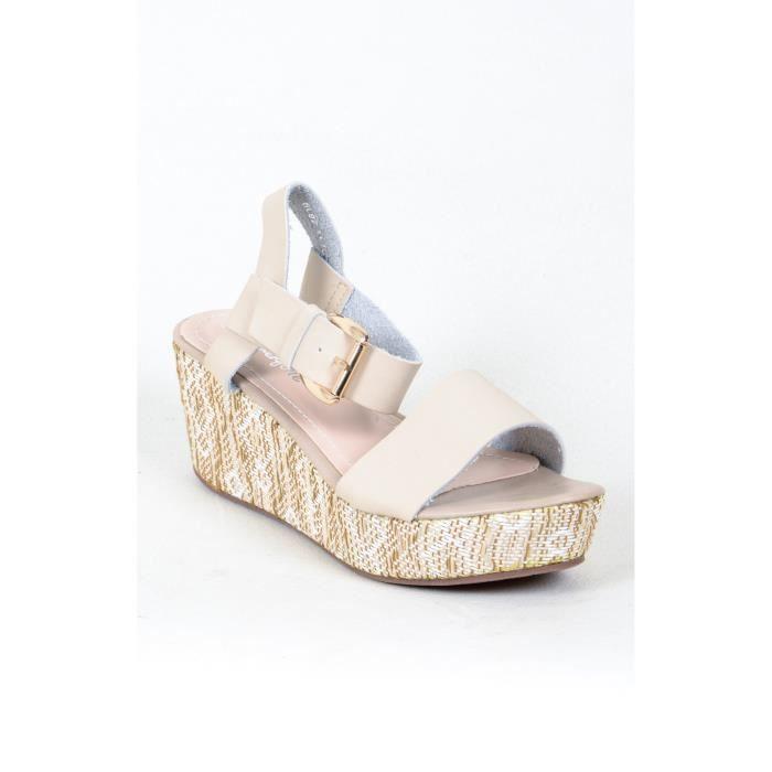 sandales compensees talon ethnique beige et ecru achat vente sandale nu pieds sandales. Black Bedroom Furniture Sets. Home Design Ideas