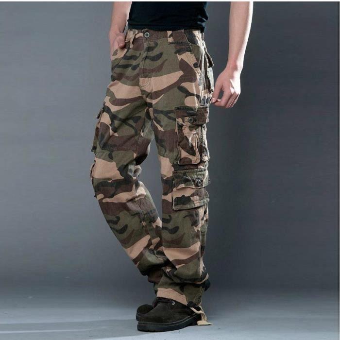 Homme pantalon treillis cargo pants camouflage jaune - Treillis militaire occasion ...