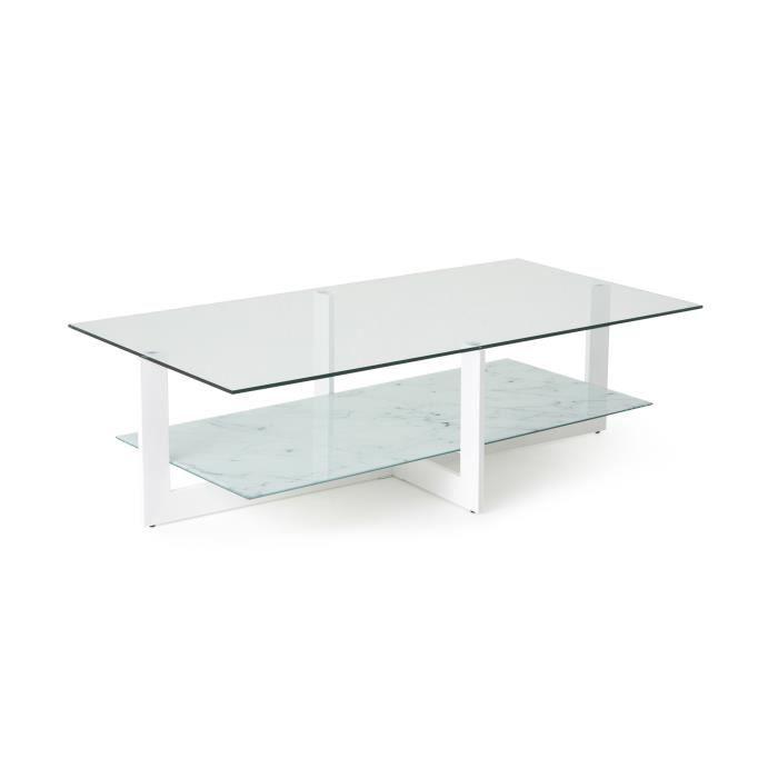 Table basse 120x60 cm verre et blanc achat vente - Table basse verre blanc ...