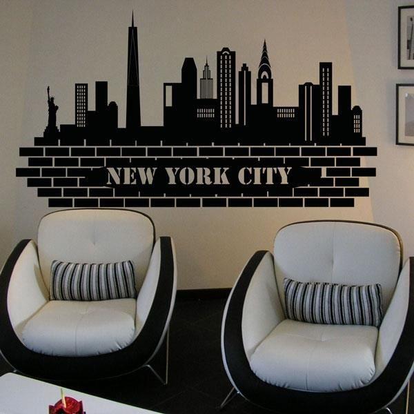 Sticker new york noir 55x100 cm achat vente stickers bois cdiscount - Achat maison new york ...
