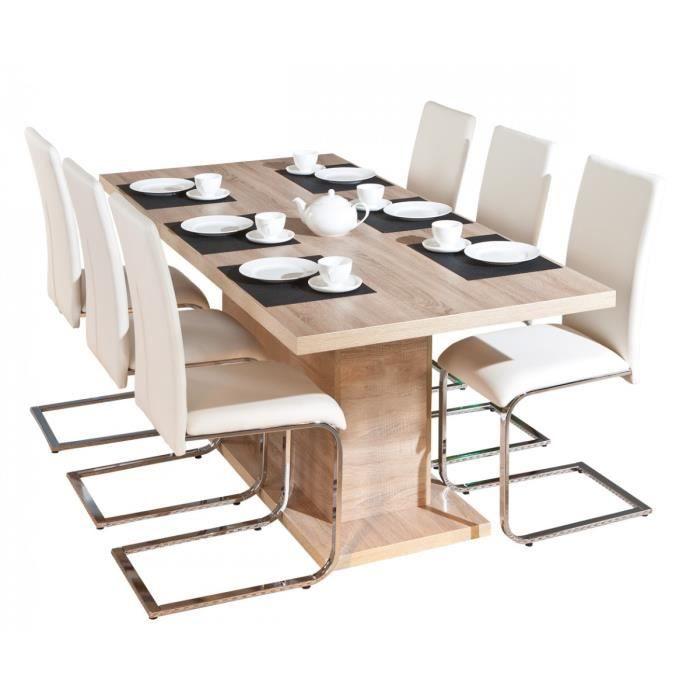 Myca table pied central avec allonge achat vente - Table avec pied central design ...