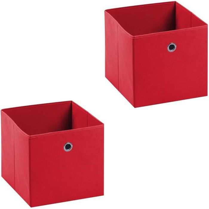 Lot de 2 tiroirs en tissu ela rouge achat vente boite for Maison rouge boite de nuit