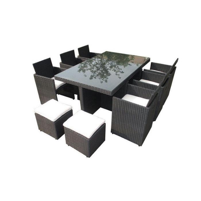 Salon de jardin encastrable en resine tressee noire 10 places sans housse sans parasol achat for Housse salon de jardin resine tressee
