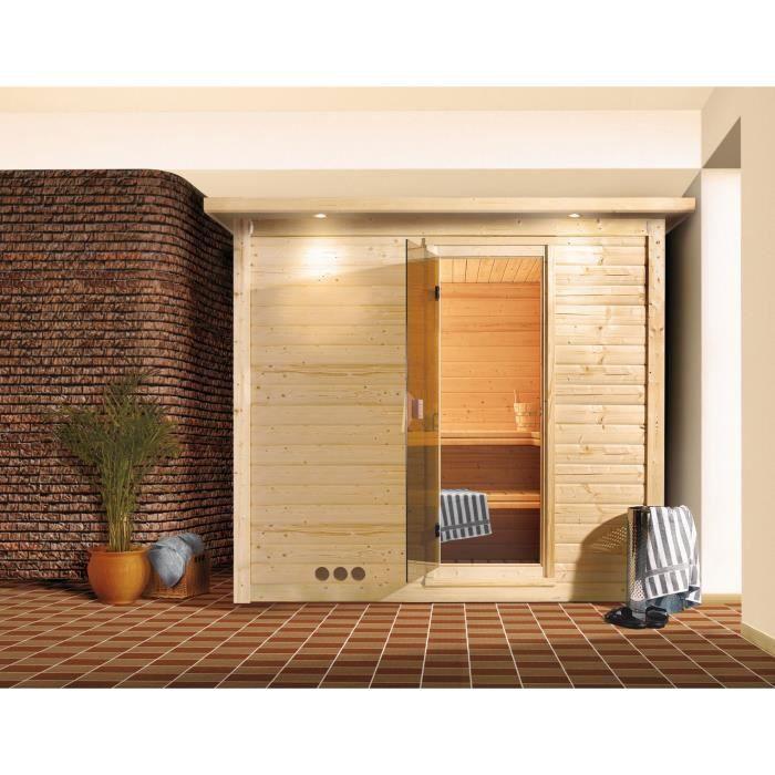 sauna bois 40mm d 39 int rieur mojave karibu 2 3 places avec porte en verre et couronne de toit. Black Bedroom Furniture Sets. Home Design Ideas
