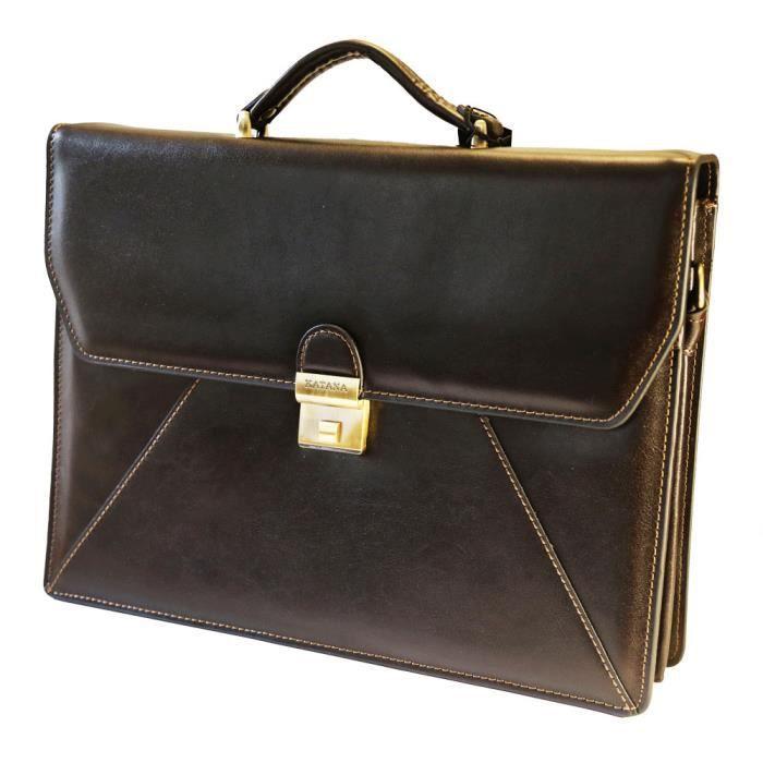 cartable cuir katana couleur marron fonc 2 soufflets marron marron achat vente attach case. Black Bedroom Furniture Sets. Home Design Ideas