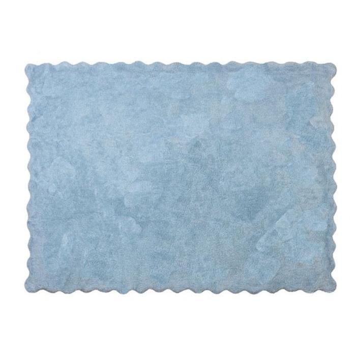 tapis enfant coton uni bleu achat vente tapis de jeu cdiscount. Black Bedroom Furniture Sets. Home Design Ideas