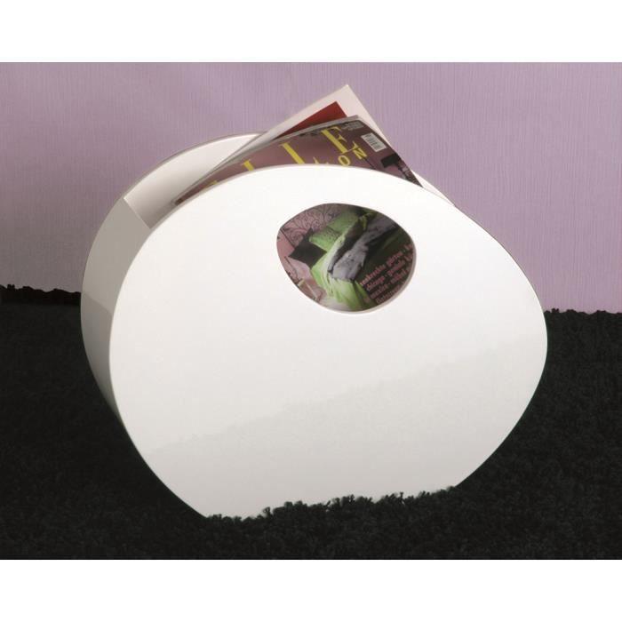 Porte journaux en mdf laqu coloris blanc dim achat for Porte journaux en bois