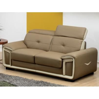 Canap 2 places en cuir maya taupe et liser achat - Canape cuir taupe ...