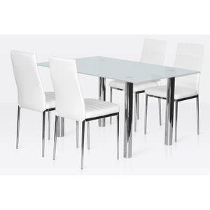 Table salle a manger en verre avec chaise achat vente Ensemble table et 6 chaise salle a manger