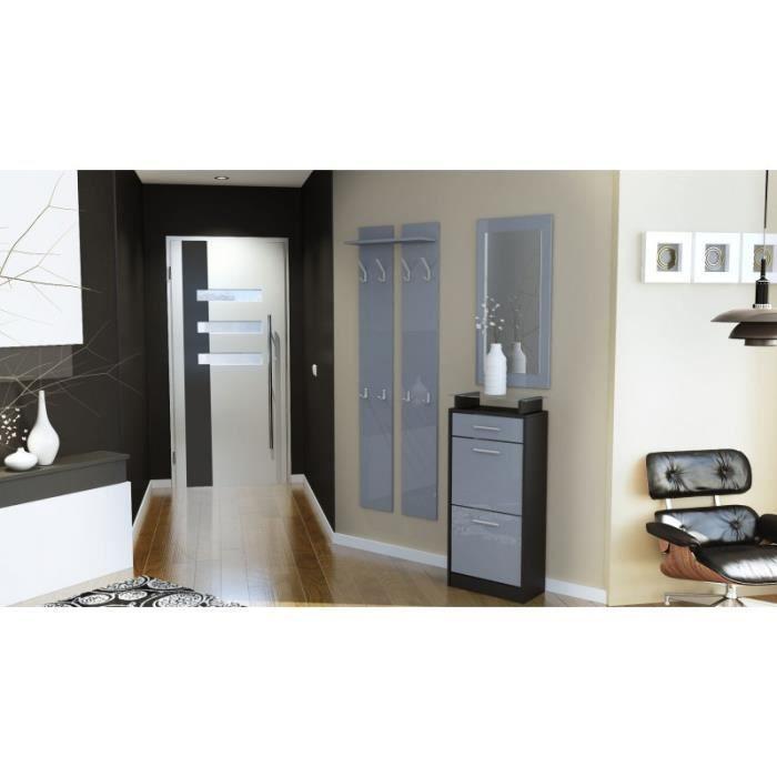 Ensemble de hall d 39 entr e laqu design noir et gris - Meuble de rangement hall d entree ...