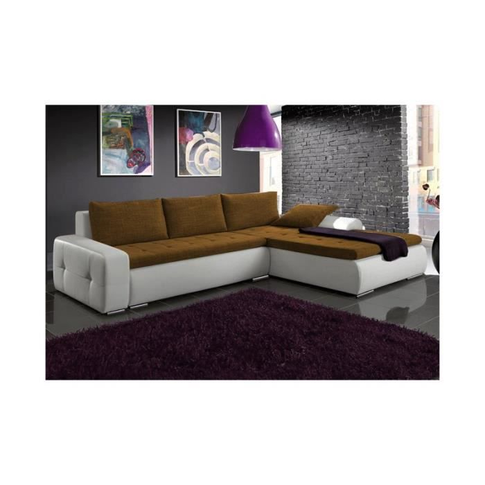 Justhome picanto canap d 39 angle couleur brun l4 h x l x for Canape d angle couleur chocolat