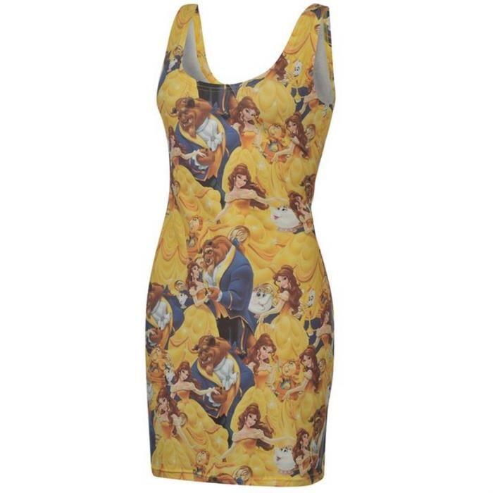Robe la belle et la b te jaune achat vente robe cdiscount - Robe la belle et la bete adulte ...