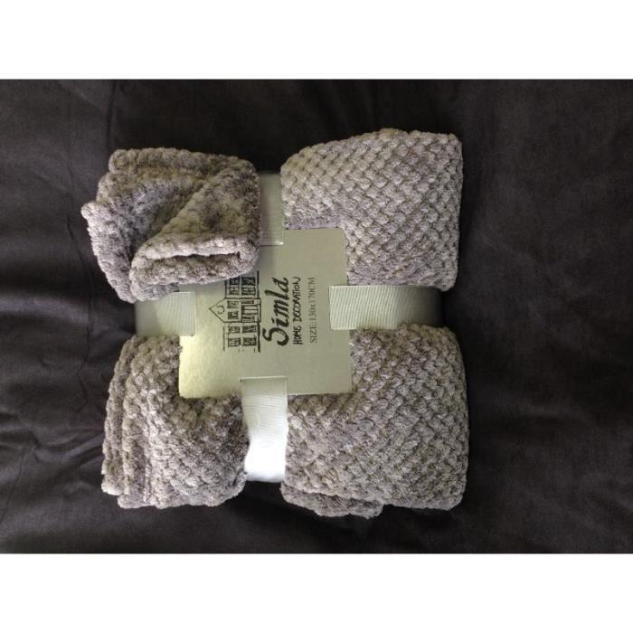 plaid coral gris fonce 130x170cm simla achat vente. Black Bedroom Furniture Sets. Home Design Ideas