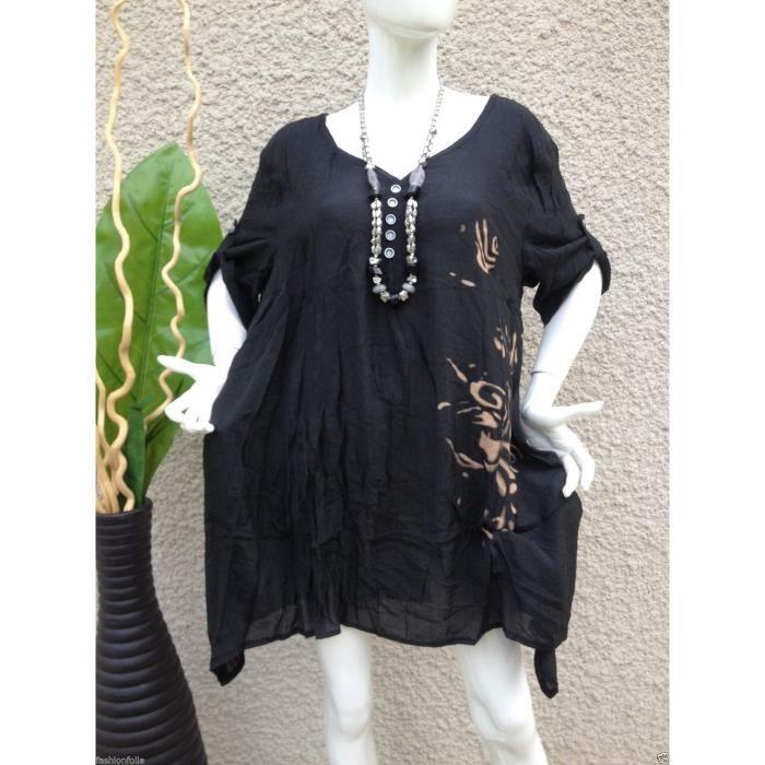 tunique haut grande taille 44 46 48 chic femme noir achat vente tunique 2009944302957. Black Bedroom Furniture Sets. Home Design Ideas