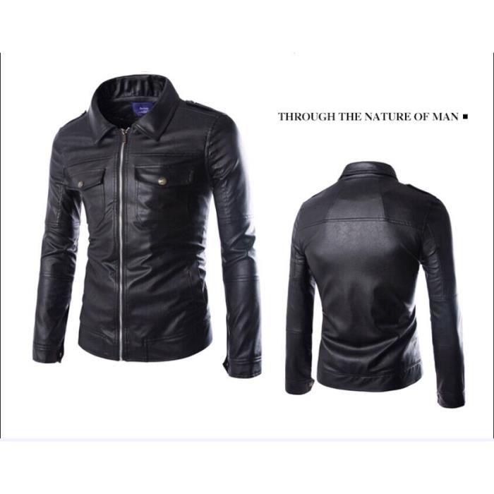 veste en cuir pu veste blouson cuir hommes noir noir achat vente blouson cdiscount. Black Bedroom Furniture Sets. Home Design Ideas