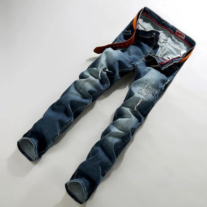 jean homme taille grande avec des trous pantalon la mode homme bleu fonce achat vente. Black Bedroom Furniture Sets. Home Design Ideas