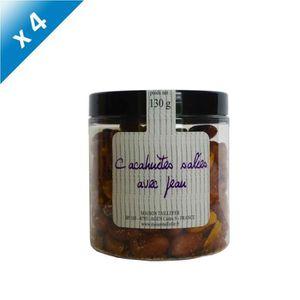 GRAINES - ARACHIDES Lot de 4 Pots de Cacahuètes salées avec peau 130g