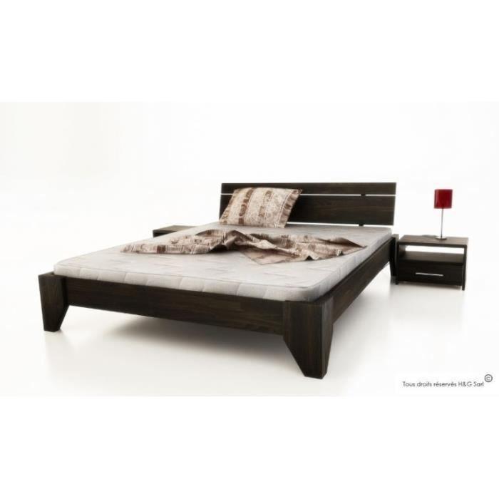 lit 2 places design verde 140x200 wenge 1 chevet achat vente structure de lit soldes. Black Bedroom Furniture Sets. Home Design Ideas