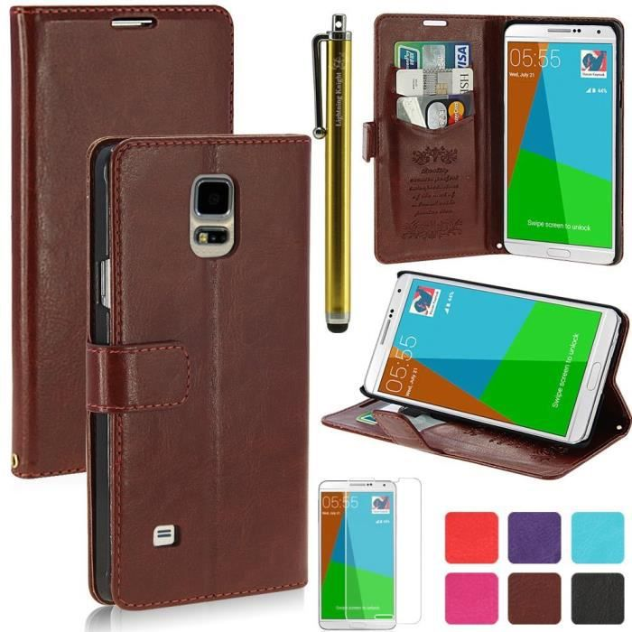 Housse etui cuir samsung galaxy note 4 marron achat for Housse samsung note 4