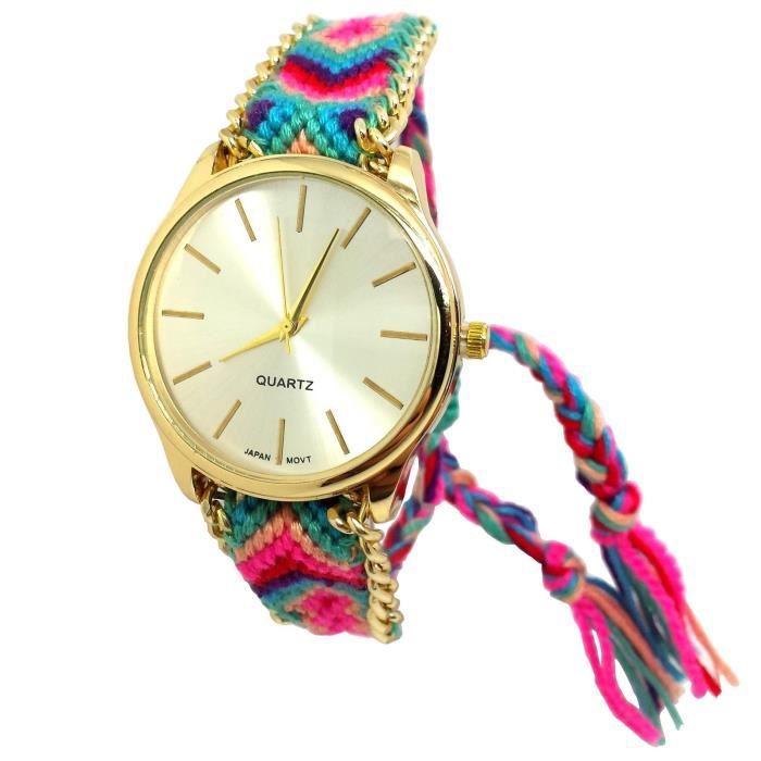 montre femme bijoux cordon bracelet br silien or rond. Black Bedroom Furniture Sets. Home Design Ideas