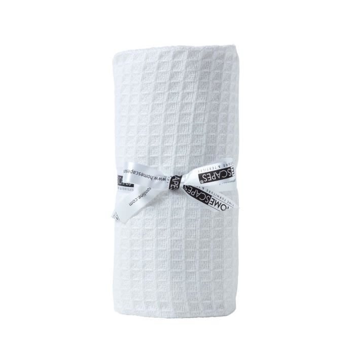 Couverture b b en coton bio gaufr coloris blanc 90 x 110 - Couverture en coton ...