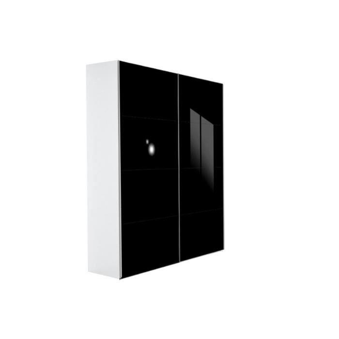 Dressing kick 152cm en verre noir brillant avec cadre blanc et portes couliss - Porte coulissante verre noir ...